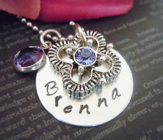 Wedding-Purple-Flower Girl Necklace-Personalized Necklace-Hand Stamped Jewelry-Childrens Jewelry-Tanzanite Crystal and Flower Charm