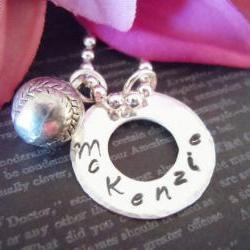 Hand Stamped Necklace-Personalized Necklace-Sterling Silver-Childrens Necklace-Silver Washer with Baseball Charm