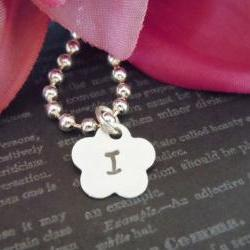 Wedding-Flower Girl Necklace or Junior Bridesmaid Necklace-Hand Stamped Jewelry-Wedding-Flower Girl Gifts-Single Initial with Birthstone