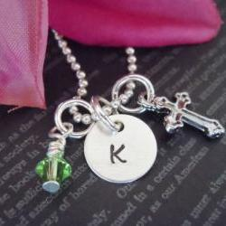 Initial Necklace-Hand Stamped-Chram Necklace-Initial Jewelry-Personalized Baby Jewerly-Christening Gift-Swarovski Birthstone and Cross Charm