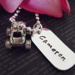 Personalized Dog Tag Hand Stamped Jewelry-Dog Tag-Necklace-Kids Jewelry-Childrens Necklace-Monster Truck Charm